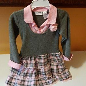 Gray and Pink plaid ruffle dress